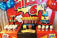 Pop Art Comic Bursts Sweet Table / Custom made pop art comic bursts sweet table. Cake, cupcakes, lolli cookiesand styling by Masterpiece Of Cake.