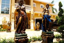 Patio Statues Hand Painted Finishes / Hand painted decorative finishes on patio statues
