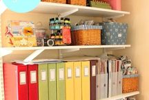 office / Shelfs, curtains, tables, and definitely something that hides the technology. Tips. DIY. Stationary. All good.