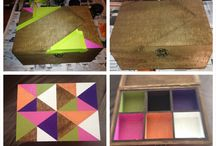 Craft / Wooden Typo storage box transformed with hand painted geometric shapes into a useful treasure/jewellery box.  All us cost $40 in paint and the box