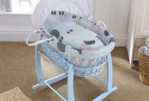 Blue Wicker Moses Basket / 0