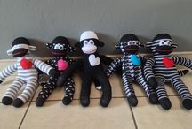 Sock Monkeys / Sock monkeys made with new pair of socks with open fibre stuffing. they are 40-45 cm long. R100 each