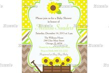 Summer Sunflowers Baby Shower / This collection features sunflowers in a wagon. The background consists of yellow polka dots, brown chevrons and yellow, brown and green ribbon.