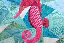 Ocean themed quilt display