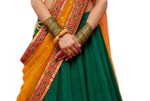 Indian outfit / Green n peach