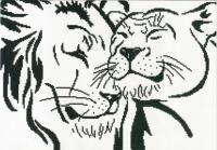 černobílý lev a lvice