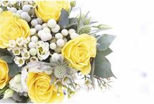 Yellow & Grey Dinner Party Centerpieces / Rustic chic yellow flower arrangements