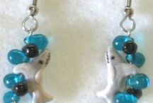 SBD Teeny Tiny Ceramic Aquarium Earrings / Teeny Tiny Peruvian ceramic animals and Czech glass fire polished accent beads dangle as earrings from surgical steel ear wires. We have all your favorites!