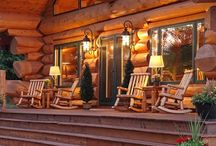 Log Cabin Porches / Porch life with log homes, log cabins and places of business. Decor, design and lots of great ideas for outdoor spaces