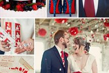 svatba modro-cerveno-bila