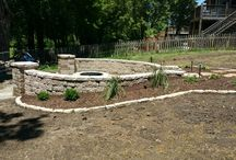 Fire pits and seating walls / 16 foot diameter custom built outdoor area
