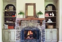 decor ~ stone fireplace / by Laura Bagozzi