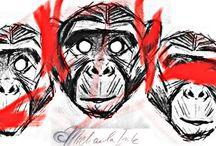 Three monkeys + Šizaru