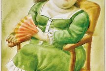 BOTERO / FERNANDO BOTERO (Colombian b. 1932) Lady with Fan, 2001 watercolor on paper signed and dated lower right  15 3/4 x 12 in. (40 x 30.48 cm.)