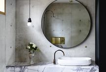 Interior design industrial mirrors on wall