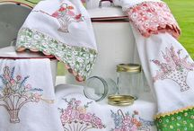 Love & Lace Embroidery / Tea Towels personally embroidered, hand made from Kommetjie, South Africa.  Contact: michele@aromapots.co.za