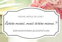 Articles blog / Retrouvez ici tout mes articles de blogs. Lifestyle, humeur, culture... .  http://simplementmeryl.blogspot.fr/