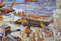 Ports & Marins / ports, cargos, marins, matelots, gros bateaux de pêche, ancres marine...