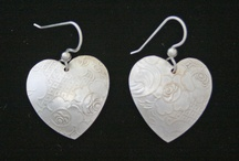 Valentines Jewelry / Heart Earrings From Vintage Silver Plated Serving Trays