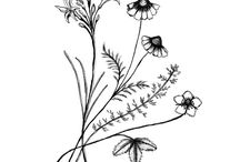 Thoughts on Tattoos / tattoo ideas - fonts and handwritten scripts, flower drawings, symbols