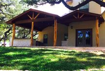 Rustic Cedar limestone patio in San Antonio Texas / Rustic Cedar patio with double gable roof and limestone granite outdoor kitchen