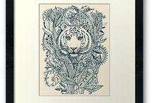 Tiger Tangle Floral Art