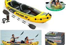 Inflatable Kayak 2 Person Canoe Boat Intex Explorer K2 Aluminium Oars & Pump New