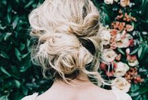 wedding dress and hair