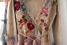 Felted and embroidered clothing