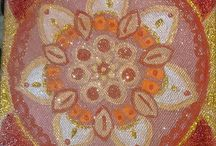 Mandala sparkling- red and gold / Paintings on canvas..acrilics