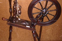 Spinning wheels and spindles.