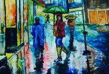 Watercolor art / Watercolor rainy a night
