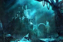 Underwater fantasy buildings / Fantasy worlds under water