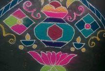Jyotsna Mohanraj Rangoli / Colorful and beautiful rangoli ideas for decorate your house on festivities