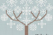 Trees Cross Stitch-Árboles punto de cruz