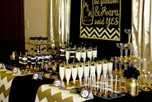 black gold party decor