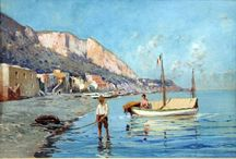 Giuseppe Laezza (1835-1905),Italian painter /  Giuseppe Laezza (1835-1905) was an Italian painter, mainly of landscapes.He resided in Naples where in 1877 he exhibited: Dopo il tramonto; San Germano; Cassino, and Una mala pesca alla Marinella. Among his works are: A Procession of Children to the Festival of Ponti Rossi, End of the Grape Harvest; Panorama of Sorrento;Curiosity of a Painter; and Un bagno pubblico a San Giovanni a Teduccio, exhibited at Turin in 1884. He became a professor at Naples.He died in poverty.