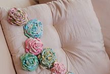 Ribbon and fabric flowers