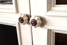 Cabinet Improvement / These cream ceramic melon knobs do wonders for a white cabinet.