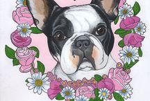 Bulldog Francês Tattoo Flor