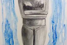 my paintings of cycladic idols / my paintings on canvas with charcoal and watercolor www.amorgosartgallery.gr