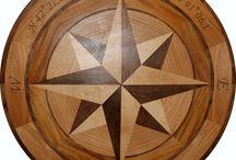"Ober Compass Rose Hardwood Floor Medallions / 46"" Hardwood Floor Medallion Inlay Compass Rose with longitude and latitude.  https://rosefarminlays.com/8-tip-star-wood-floor-medallions-inlays?product_id=205"