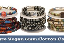 Cotton Round Beading Cord - Vegan Product / Woven Cotton Thread wrapped around a cotton cord. This is a VEGAN product. For single strands use 6mm Components and Clasps. 2 strands will fit in Regaliz Leather Components and Clasps.