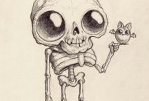 skeleton cartoon drawing