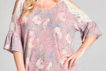 PLUS Crochet Floral Cold Shoulder Top