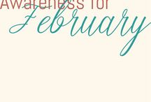 February Awareness Images / Pins for disabilities, illnesses and more during the month of February.
