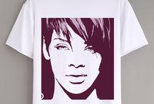 Short Sleeve Rihanna Unisex White Fashion HIP HOP Star Casual T Shirt
