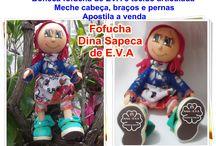 Crafts Fofucha articulada de EVA / Diy Boneca fofucha de EVA e tecido articulada  Meche a cabeça, braços e pernas  Apostila a venda https://youtu.be/2qjc8V3hkPE  http://www.soniaeva.com.br/