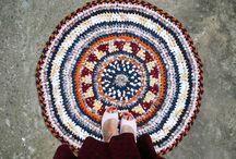 ECO - friendly upcycled crocheted Rag Rugs  / ECO - friendly upcycled crocheted Rag Rugs made with 100 % recycled fabrics.