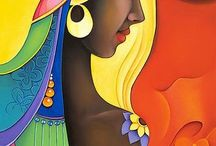 painting  African girl  5